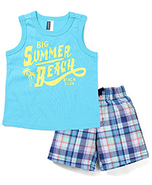 Wonderchild Summer Beach Print T-Shirt & Shorts - Blue
