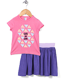 Candy Rush Love Print T-Shirt & Skirt Set - Pink & Purple