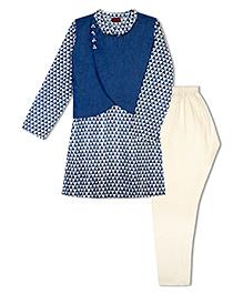 Twisha Kurta Pyjama & Jacket Set - Blue