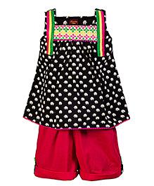 Twisha Ethnic Long Top With Shorts - Black