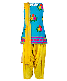 Twisha Kurta Salwar & Dupatta Ethnic Set  - Blue & Yellow