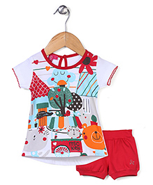 Mickey Half Sleeves Top and Shorts Set Multi Print - White and Red