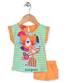 Mickey Half Sleeves Top and Shorts Set Too Good Print - Green and Orange