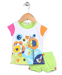 Mickey Half Sleeves Top and Shorts Set Floral Print - White and Green