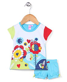 Mickey Half Sleeves Top and Shorts Set Floral Print - White and Blue