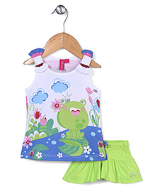 Mickey Sleeveless Top and Skirt Set Frog Princess  Print - White and Green