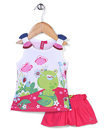 Mickey Sleeveless Top and Skirt Set Frog Princess  Print - White and Pink