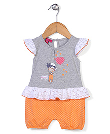 Mickey Cap Sleeves Romper Heart Patch - Grey and Orange