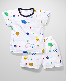Candy Rush Slam Dunk Print T-Shirt & Shorts Set - White