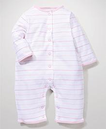 Little Wacoal Stripe Print Romper - Pink