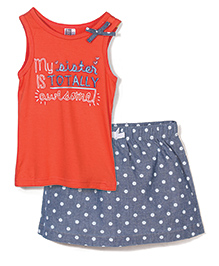Candy Rush My Sister Print Skirt & Top Set - Grey & Orange