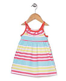 Wonderchild Stylish Sleeveless Stripe Dress - Multicolor