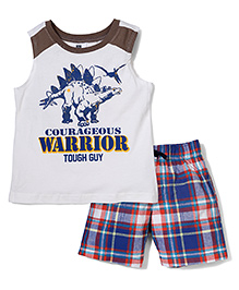 Candy Rush Warrior Print T-Shirt & Shorts Set - White & Blue
