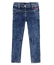 Barbie Full Length Knitted Denim Jeggings In Textured Towel Wash - Blue