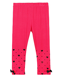 Barbie Full Length Leggings With Border Print And Bow Applique - Pink
