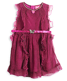Barbie Georgette Ruffle Party Dress With Designer Belt - Dark Pink