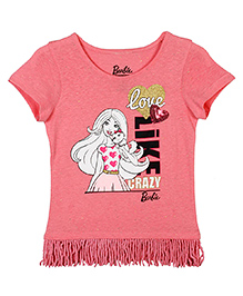 Barbie Half Sleeves Graphic Print T-Shirt With Tassels - Candy Pink