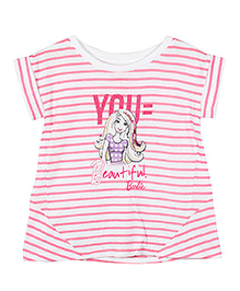 Barbie Cap Sleeves Striped Glitter Graphic T-Shirt - Pink And White