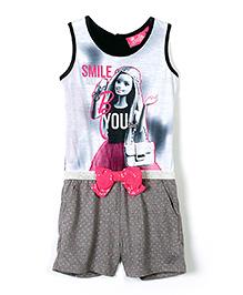 Barbie Doll Print Sleeveless Jumpsuit - Grey
