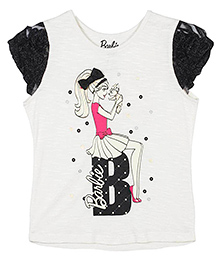 Barbie Corsage Sleeves Foil Graphic Print T-Shirt - Black And White