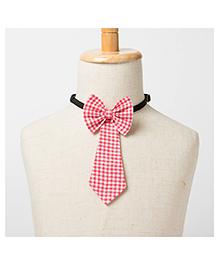 Brown Bows Tail Down Bow Tie Checks Print - Red