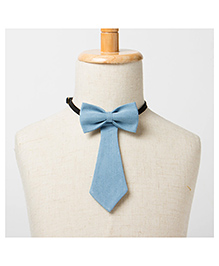 Brown Bows Tail Down Bow Tie - Blue