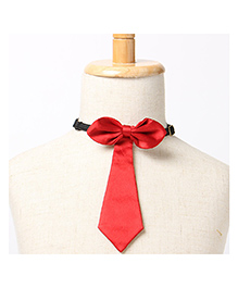 Brown Bows Tail Down Bow Tie - Red