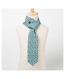 Brown Bows Scarf Style Tie - Light Blue