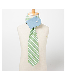 Brown Bows Scarf Style Tie - Green