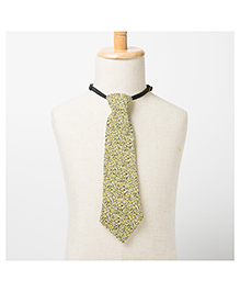Brown Bows Printed Tie - Yellow