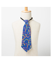 Brown Bows Printed Tie - Blue