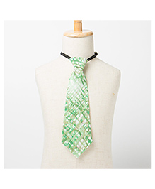 Brown Bows Printed Tie -Green
