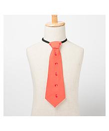 Brown Bows Puppy Print Tie - Orange