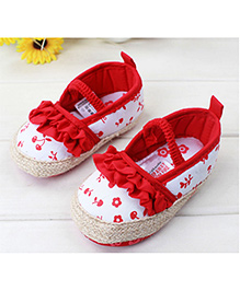 Princess Cart Flower Print Shoes - Red