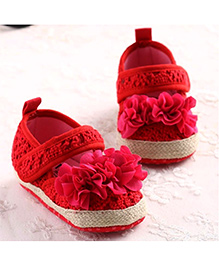 Princess Cart Mary Jane Shoes  With Frills - Red