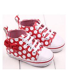 Princess Cart Bowknot Polka Dot Sneakers - Red