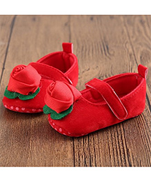 Princess Cart Mary Jane Shoes Rose Applique- Red