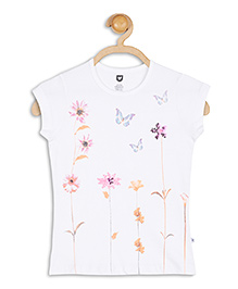 612 League Short Sleeves Top Floral Print - White