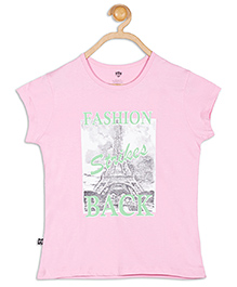 612 League Photo Print Fashion Magyar Sleeves Top - Pink