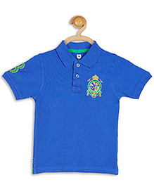 612 League Emblem Embroidered Half Sleeves Collared T-Shirt - Royal Blue