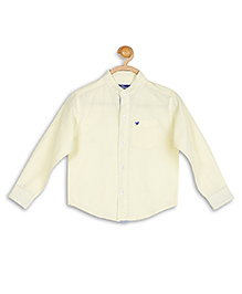 612 League Plain Solid Color Mandarin Collar Shirt - Light Yellow
