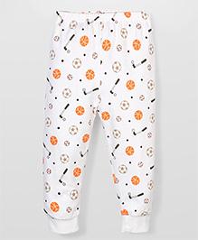 Urban Fashion  Hockey Stick Print Leggings - White