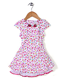 Rosy Bow Cap Sleeves Floral Printed Frock - Pink