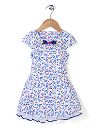 Rosy Bow Cap Sleeves Floral Printed Frock - Blue