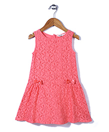 Beebay Sleeveless Lace Frock Bow Applique  - Peach