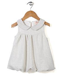 Little Coogie Stylish Sleeveless Party Dress - White