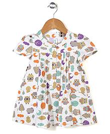 Elite Fashion Owl Print Tunic - White