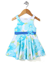 Miss Pretty Floral Dress With Bow - Blue