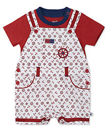 FS Mini Klub Dungaree With T-Shirt Anchor Print - Red White