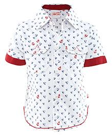 FS Mini Klub Half Sleeves Shirt Anchor Print  - White